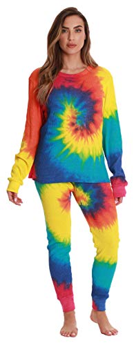 Just Love Women's Tie Dye Two Piece Thermal Pajama Set 6770-10364-L