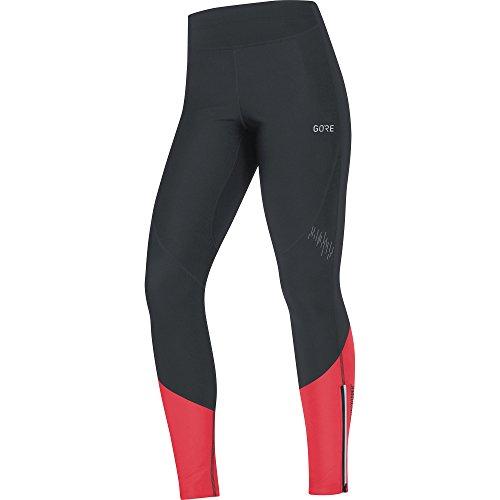 GORE Wear Winddichte, lange Damen Laufhose, R5 Women GORE WINDSTOPPER Tights, 40, Schwarz/Pink, 100355
