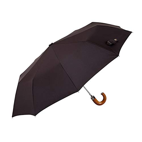EZPELETA Paraguas Plegable de Hombre. Paraguas con Funda. Automático y con puño Curvo de Madera. Tejido Liso - Marrón