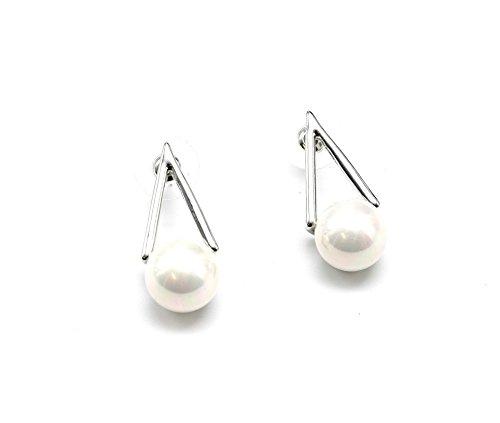 BO259-Pendientes de plata y perla triángulo contorno modo de fantasía, color blanco