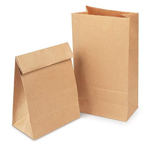 Papiertüten Tütchen braune Papier-Beutel mit Boden Mini Geschenktüten 70 gr./m² Kraftpapier Tüten für Geschenktüten Ostertüten Brote Keks verpacken (26 * 14 * 8cm Braune)