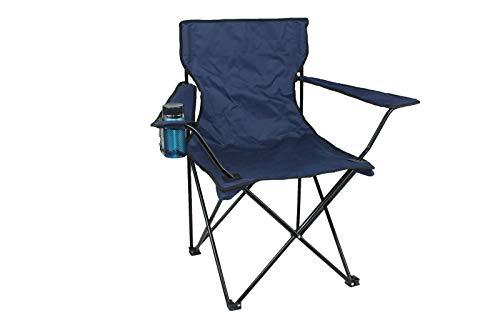 Silla plegable de playa, silla de playa, mochila súper ligera con portavasos y bolso, camping, barbacoa, playa, viajes, picnic, festival, compacta y resistente (negro azul)