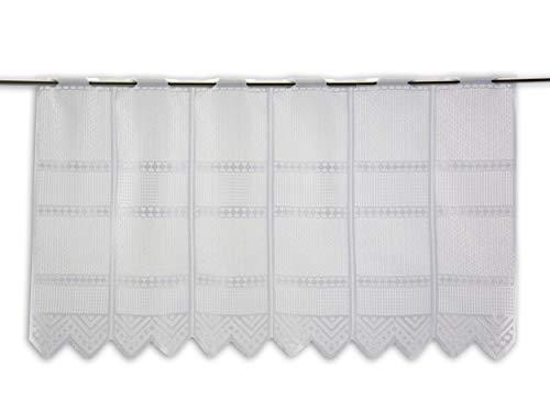 Albani Scheibengardine Jacquard weiß Höhe 30/45/60/90cm | Breite der Gardine frei wählbar in 13,5cm Schritten | Gardine | Panneaux (Höhe 45cm)