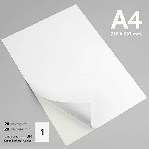 PACKLIST Papel Pegatina para Imprimir, 20 Etiquetas Adhesivas A4 - Etiquetas impresora 210 x 297 mm.20 Hojas, 1 Etiqueta por Hoja - Papel Adhesivo para Imprimir - Papel de Pegatina Impresión Premium