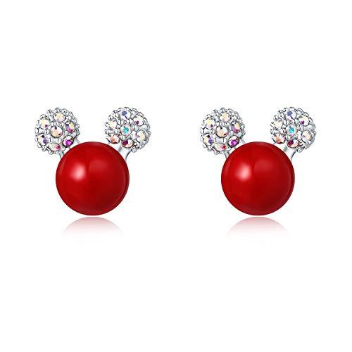HERMOSO Mooie Mickey Mouse Rode Parel Oorbellen voor meisjes/vrouwen, Gemaakt met Swarovski kristal Swarovski parel 925 Post sieraden Gift