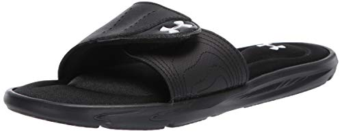 Under Armour Women's Ignite IX SL Slide Sandal, Black (001)/White, 10 M US