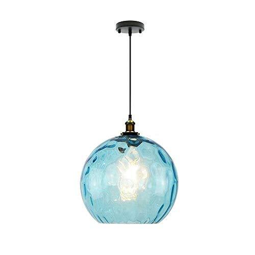 OUUED Droplight de cristal azul Cuerpo de iluminación clásico retro iluminación pendiente de cristal, cristal soplado a mano araña de suspensión Luz pendiente de la luz E26 / E27 Titular de lá