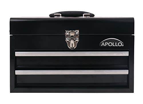 APOLLO TOOLS Black Metal Tool Box with Deep Top Compartment and 2 Drawers in Heavy-Duty Steel Chest With Ball Bearing Opening And Powder Coated Finish - DT5010