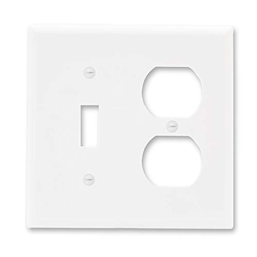 Maxxima 2 Gang Standard/Toggle Outlet Wall Plate, White, Standard Size (Pack of 5)