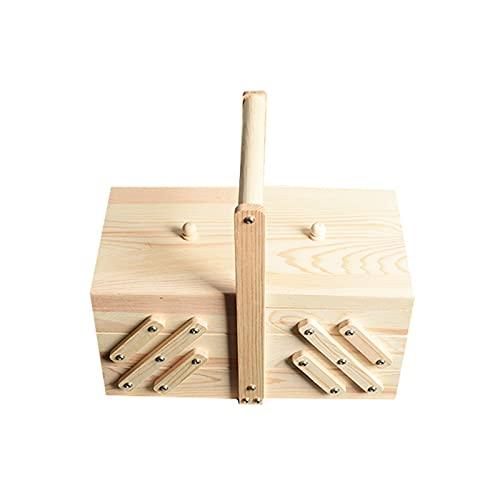 POUAOK Caja de Madera para Coser, Caja de Almacenamiento para Costura, Caja del Tesoro de cosméticos para joyería, Caja de Madera...