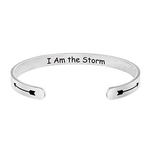 I Am the Storm Inspirational Bracelet Cuff Bangle Inspiring Gift Motivational Quote Jewelry Encouragement Gifts Strength Confidence Awareness Jewelry for Women Her (the storm CB)