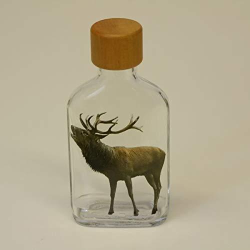 GTK - Geweihe & Trophäen KRUMHOLZ Botella pequeña de cristal de 100 ml, petaca con diseño de ciervo rojo