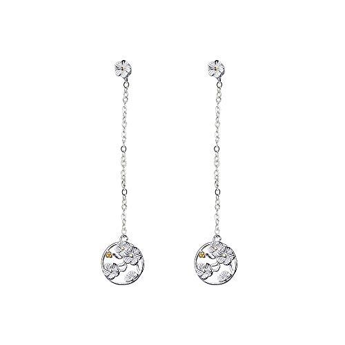 Ms. Swan 925 Sterling Silber Chinesische Ohrringe Damen, Blumen Ohrringe Silber 925, Lange Ohrstecker Mädchen