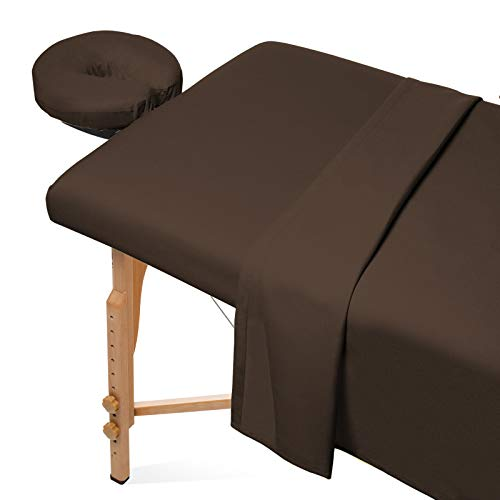 Saloniture 3-Piece Flannel Massage Table Sheet Set - Soft Cotton Facial Bed Cover - Includes Flat and Fitted Sheets with Face Cradle Cover -Chocolate Brown
