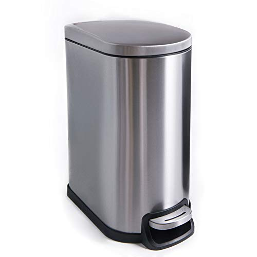 CTETC - Basurero redondo pequeño con tapa de cierre suave y extraíble interior basurero, acero inoxidable cepillado antihuellas para cuarto de baño, dormitorio, oficina, 2,6 gal/10 l