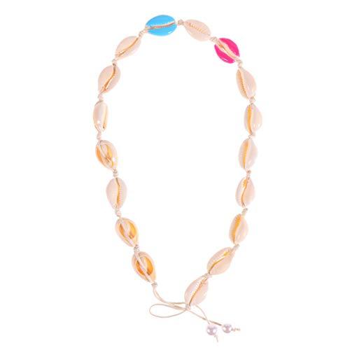 Holibanna Collar de Gargantilla de Concha de Estilo de Playa Collar de Perlas de Concha Hawaiana Hebras de Cordón de Playa Collar Bohemio Hawaiano Joyería para Mujeres Niñas