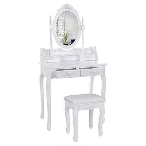 YIFAA Tavolo da Toletta con Specchio Rotante a 360°, 4 Cassetti, Sgabello Imbottito, Postazione Trucc per Il Trucco, Gioielli, Camera da Letto(75x40x145cm)