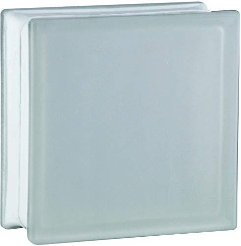 6 Stück BM Glassteine Vollsicht SUPER White 2-seitig satiniert (Milchglas) 19x19x8 cm