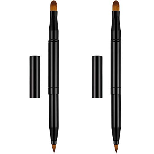 Falliny Retractable Lip Brush, 2 in 1 Travel Lipstick Brush Dual End Lip Concealer Makeup Brushes with Cap (2 Pieces)