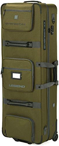 Legend Everest Hybrid Roller Bow Case - Compound Archery Gear Rolling Travel Bag - Compact, Airline-Approved, TSA Lock, Metal Frame, Thick Safety Padding, Extra Pockets - 44 Inches Inside, Green