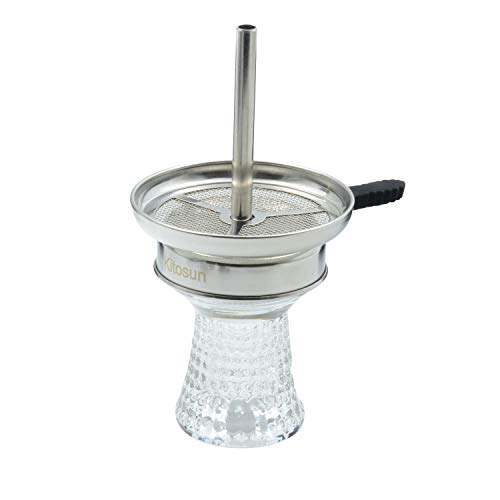 Hookah Bowl Set Crystal Glass Narguile Phunnel Shisha Kopf mit Mesh Bowl Heat Management Device Screen Charcoal Holder Tray with Chimney Easy Setup Fast Cleaning for Better Narguile Huka Smoking