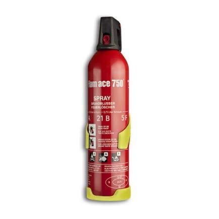Extintor Spray Flam Ace 750ml contra incendios en casa, coche, caravana, barco, oficina, camping, cocinas, biodegrabale sin residuos para fuegos ABF y eléctricos hasta 1.000V, rojo