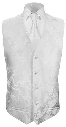 Paul Malone Hochzeitsweste + Krawatte weiß Paisley - Bräutigam Hochzeit Anzug Weste Gr. 52 M
