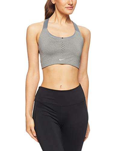 Nike Pacer Bra 2 Sport-BH, Damen, Grau (Carbon Heather/Black), Damen, Carbon Heather/schwarz, S C/D