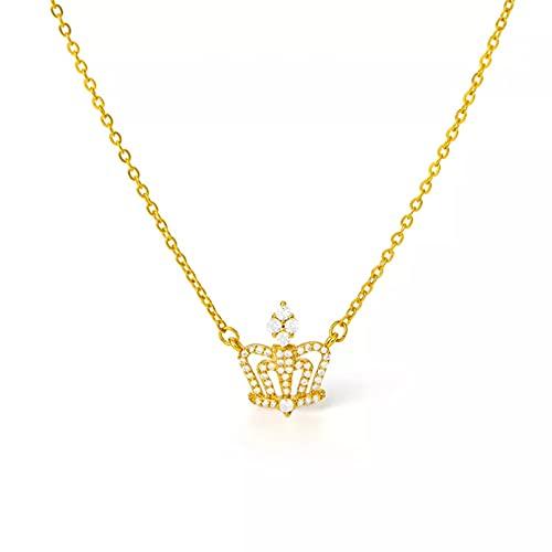 N/A Colgante de Collar de Mujer Collar de Corona de nicho Noble y Elegante para Mujer Colgante de circón con Incrustaciones de Tipo Hueco temperamentos clásicos joyería de Cadena de clavícula