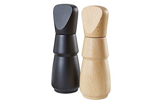 Buonostar kruidenmolen/pepermolen/zoutmolen/set 2-delig van hout met keramisch maalwerk. Natuurlijk licht & zwart | traploze regeling van de maalsterkte van grof tot fijn. | Garantie: 20 jaar