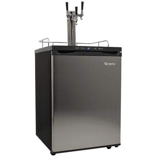 EdgeStar Full Size Triple Tap Kegerator with Digital Display - Black and Stainless Steel