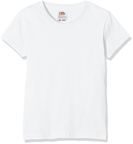 Fruit of the Loom Mädchen Valueweight T Girls T-Shirt, Weiß (White 000), Herstellergröße: 128 (7-8)