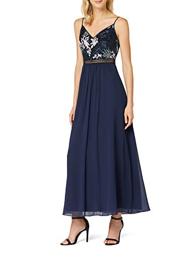 Amazon-Marke: TRUTH & FABLE Damen Maxikleid aus Chiffon, Blau (Multi Spring Emb), 36, Label:S