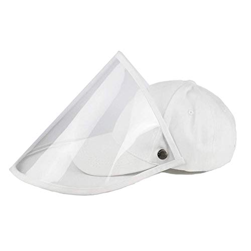 Baseball Cap for Womens Men,Sun Hat with Removable Transparent Cover,Foldable Plain Hat,Summer Bucket Hats,Outdoor Gym Sport Hat02 White