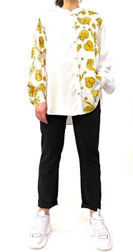 Versace Jeans Couture Jeans Couture Blusa met barokdruk sluiting blouse met drukknoppen kleur goud en applicatie op de achterkant met logo