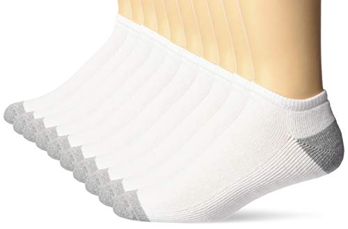 Amazon Essentials 10-Pack Cotton Half Cushioned No-Show Socks Casual, Blanco, 12-16