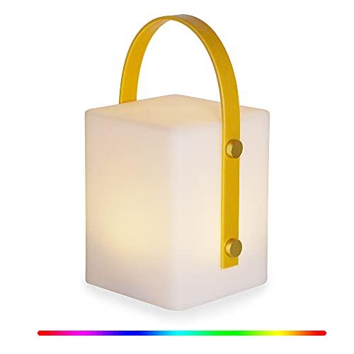 Luz nocturna LED, recargable por USB, impermeable, lámpara de mesa de noche, regulable, RGB, con asa de cuerda para dormitorio, exterior, camping, salón, fiestas (cuadrada)