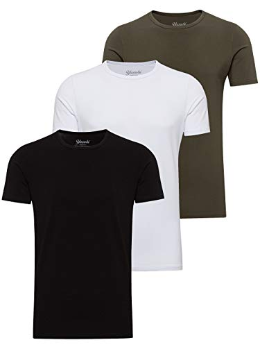 Yazubi 3er Pack Basic Baumwoll Arbeits T-Shirt Herren Tshirt Set für Männer T Shirt Rundhalsausschnitt Mythic, Mix (mix1), L