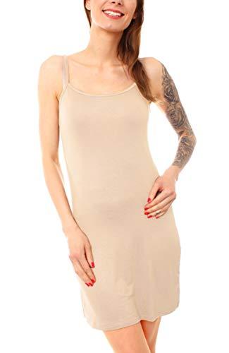 Easy Young Fashion Damen Basic Spaghetti Top Lang Longtop Unterkleid Nachtkleid Dessous Kleid kurz One Size Beige