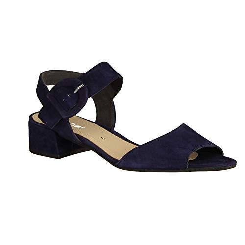 Gabor 41702-16 - damesschoenen sandalet/sling, blauw, leer (fluweelgoed), hakhoogte: 30 mm