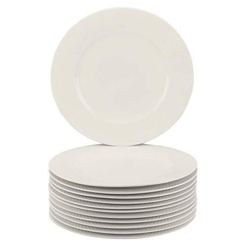 "10 Strawberry Street Basket Weave 10.5"" Catering Set of 12 Dinner Plates, Cream White"