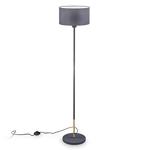 B.K.Licht I lámpara de pie de tela gris I E27 I 1 llama I pantalla de tela 30 cm I cable de 140 cm con interruptor de pie I sin bombilla