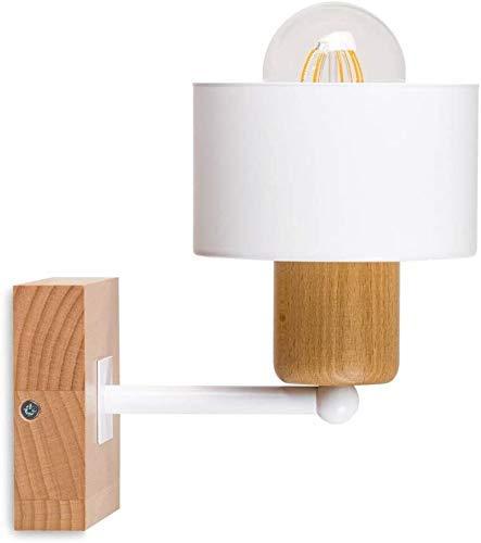 Weiße Wandleuchte Wandleuchte mit Griffschalter 10X10bu Schalter Hauslampe mit Netzkabel Holzlampenlampe (weiß)