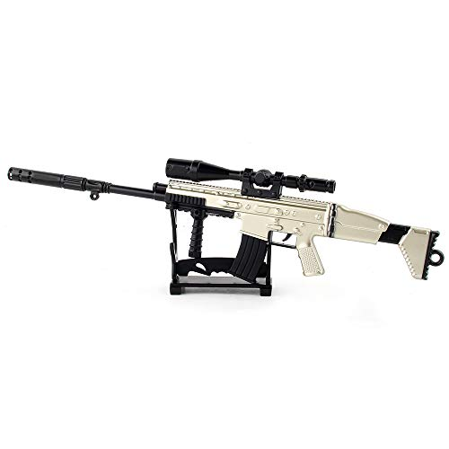 Fantarea Metal Alloy Model Guns Figures Gun Miniature Army Military Imitate Education Learning Desktop Decoration Party Role-Playing Toys Fit for Scar-L