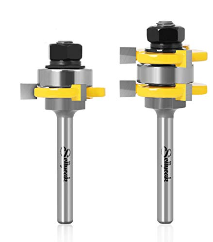 Tongue and Groove Router Bit Set 1/4 shank, SellyOak Tongue Groove Router Bit, 3 Teeth Adjustable T Shape for Doors, Drawers, Shelves & More