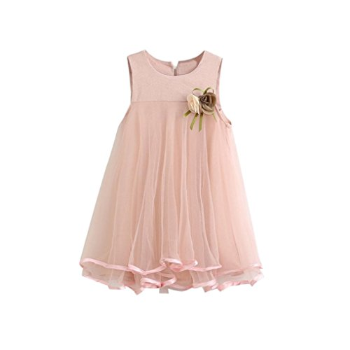 JERFER Kleinkind Mädchen Chiffon Kleider Sleeveless Drape Dress + Brosche (Rosa, 5T)