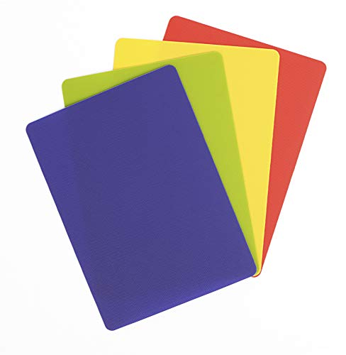 Dexas Heavy Duty Grippmat Flexible Cutting Board Set of Four, 8 by 11 inches, Blue, Green, Yellow, Red