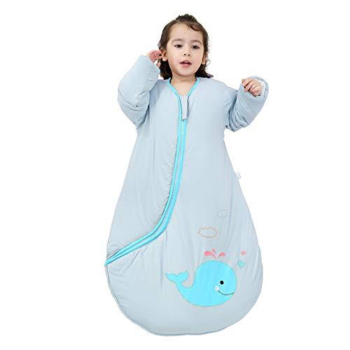 EsTong Unisex Baby Cartoon Whale Wearable Blanket Toddler Detachable Sleeves Sleepsack Cotton Nightgowns Sleeping Bag Blue 2.5Tog L