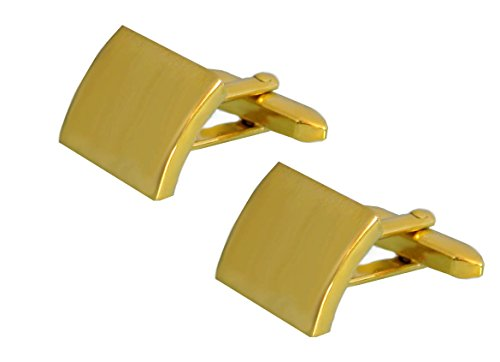 Unbekannt Manschettenknöpfe vergoldet matt quadratisch leicht gebogen inkl. brauner Geschenkbox