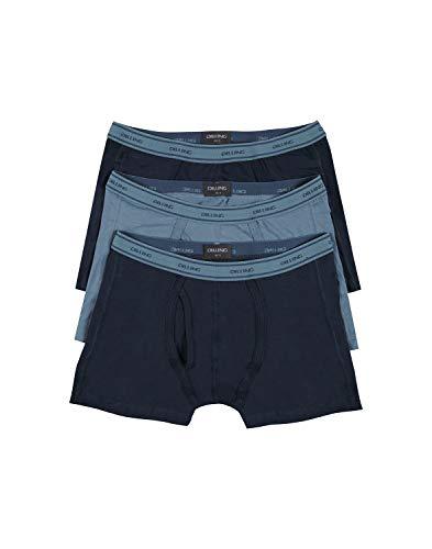 Dilling Herren Baumwoll Boxershorts mit Eingriff - 3er-Pack Blau XL